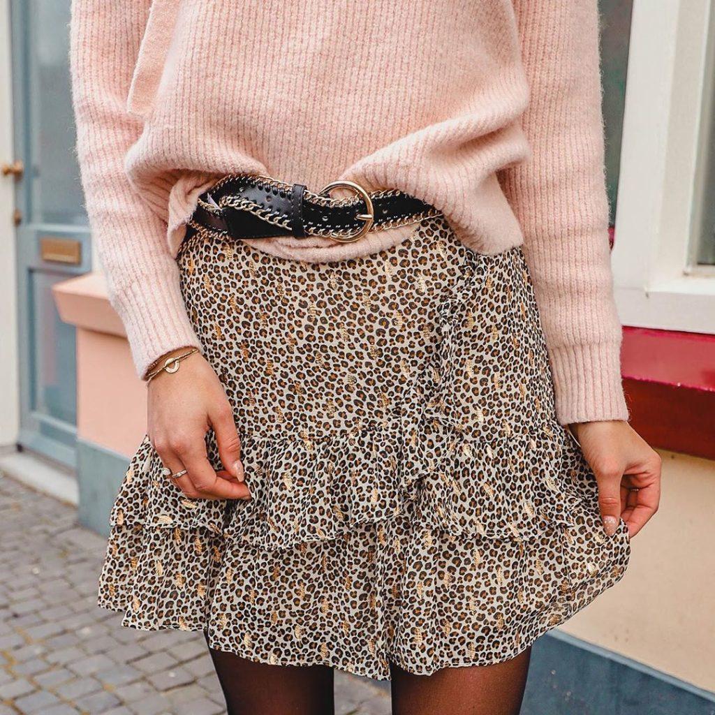 woman in leopard print skirt