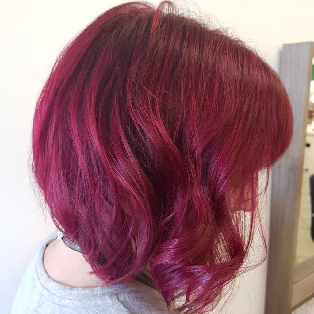 deep purple/red hairstyle