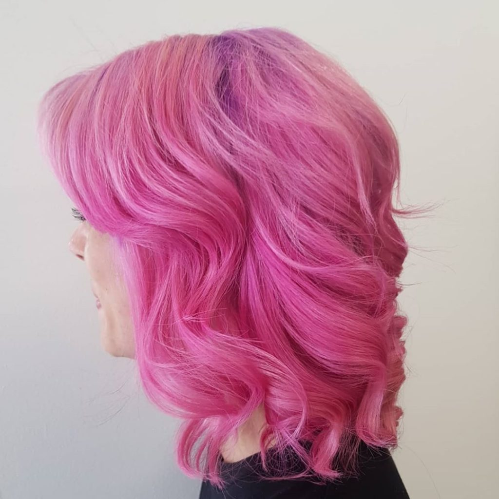 bright pink hair on woman