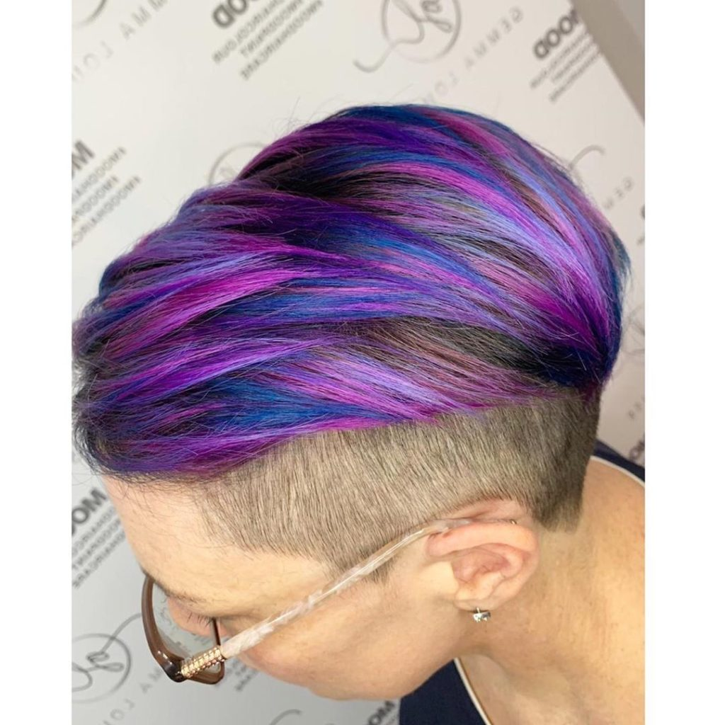 multi-color short hair on woman
