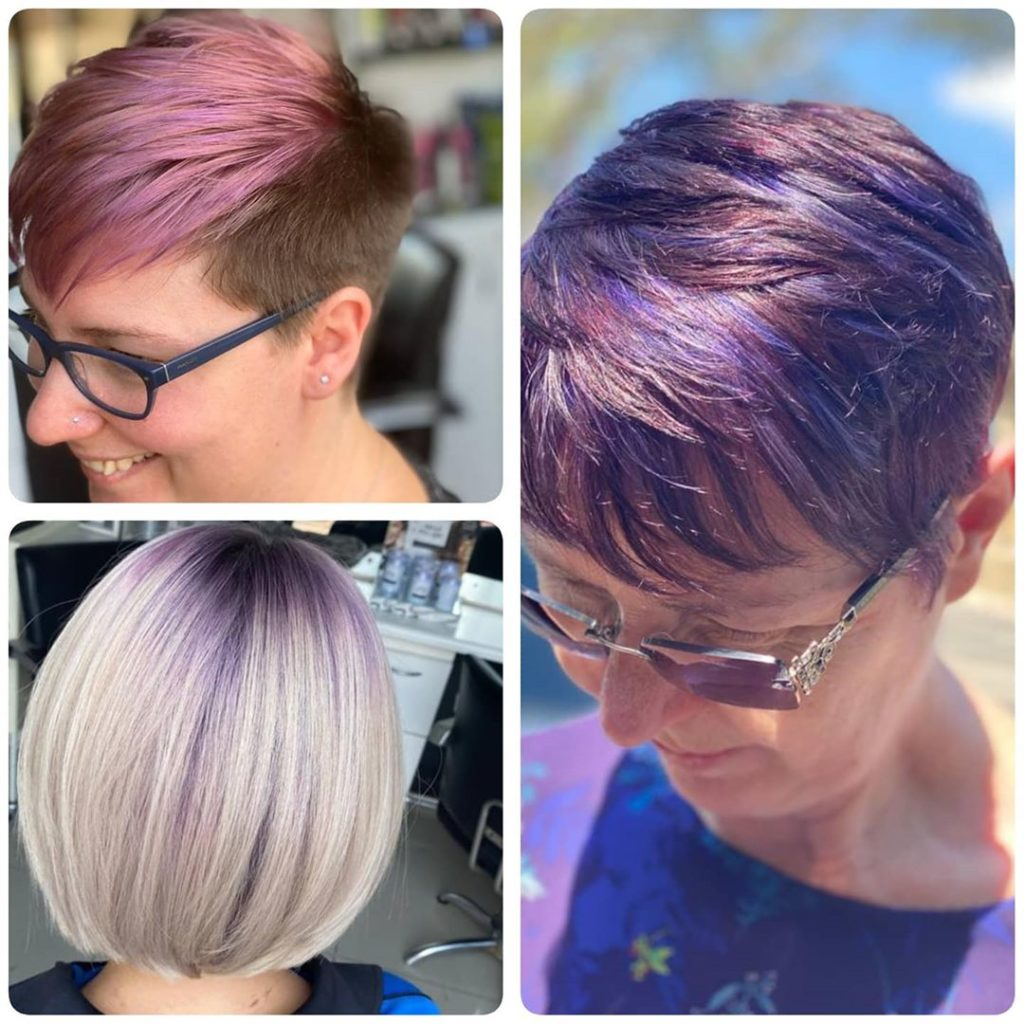 different short hairstyles with purple color