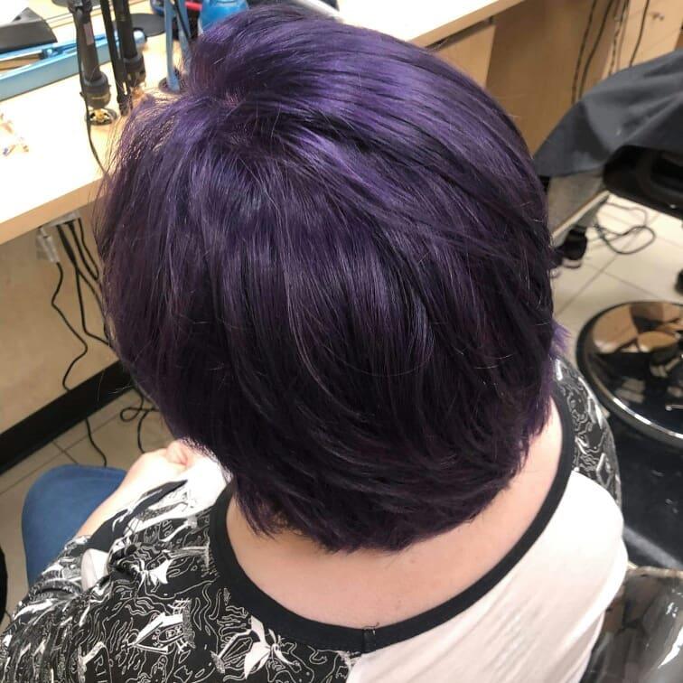 dark purple hair on mature woman