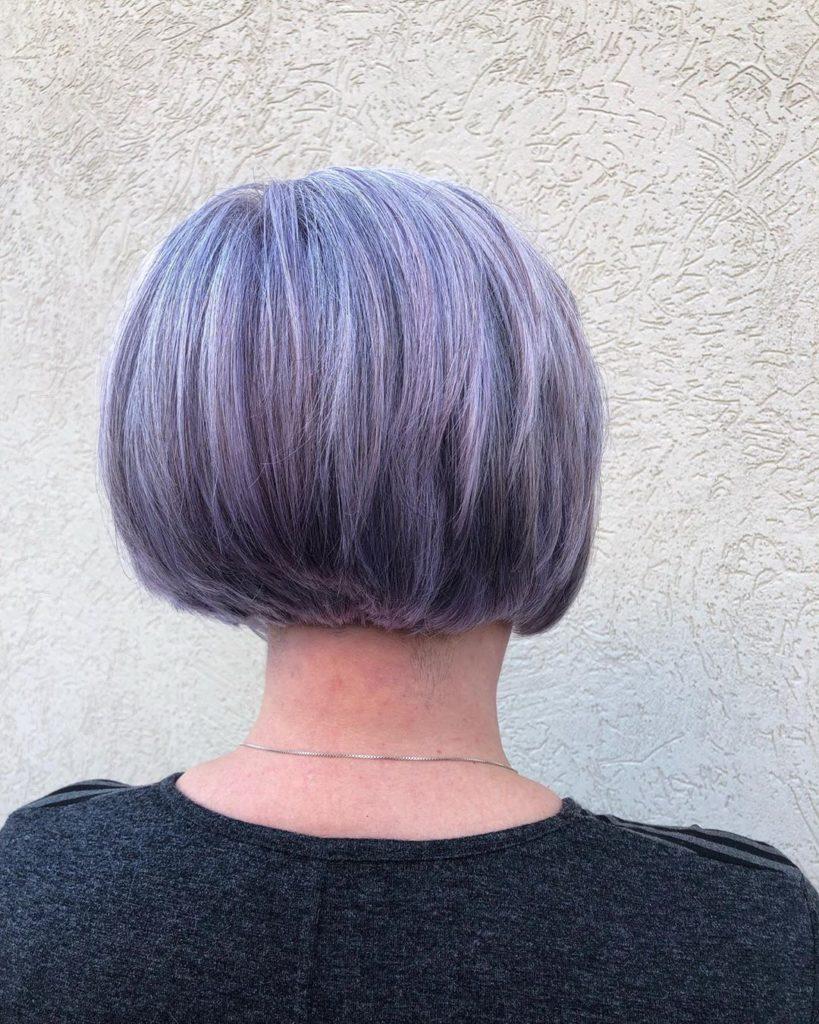 Short purple hair woman